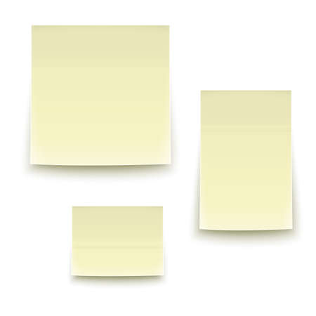 Three classic yellow paper stickers, three sizes, with soft lighting.  Vector