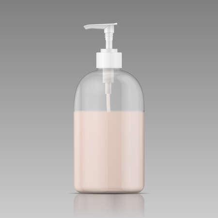液体石鹸、シャンプー、シャワーのゲル、ローション、ボディミルクとディスペンサー キャップ付きプラスチック製のボトル。ベクトル イラスト。