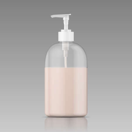 Plastic bottle with dispenser cap with liquid soap, shampoo, shower gel, lotion, body milk. Vector illustration.