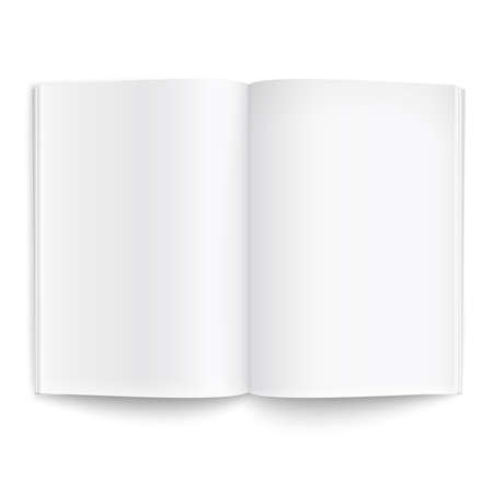 Blank opened magazine template on white background with soft shadows. Ready for your design. Vector illustration.