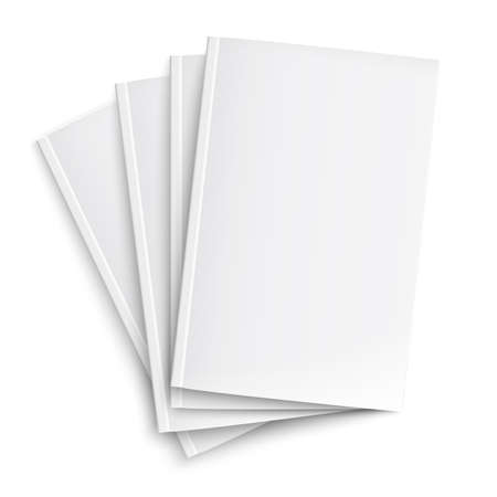 Stack of blank magazines template. on white background with soft shadows. Ready for your design. Vector illustration.  Vector