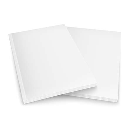 periodical: Couple of blank magazines template on white background with soft shadows. Ready for your design. Vector illustration.
