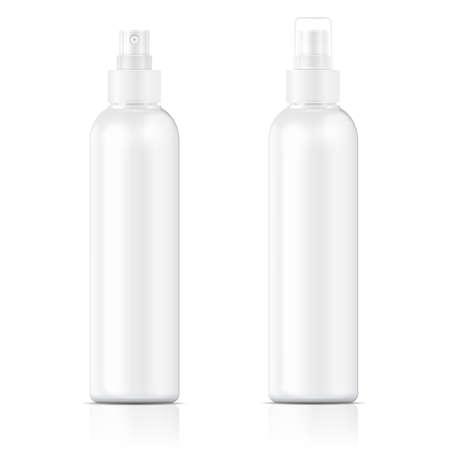 白のプラスチック ボトル (コスモ ラウンド スタイル) 化粧品、香水、消臭剤、芳香剤のためのリブ細かい霧のスプレーで。ベクトル イラスト。
