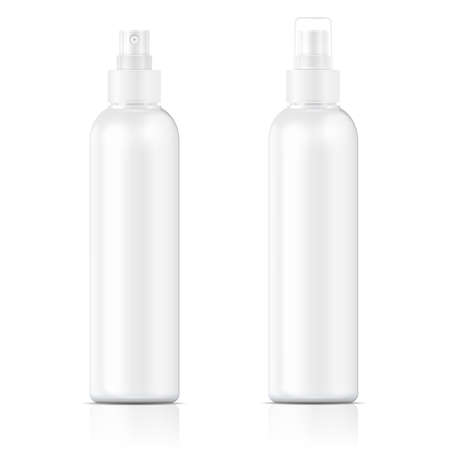 fog: White plastic bottle (cosmo round style) with fine mist ribbed sprayer for cosmetic, perfume, deodorant, freshener. Vector illustration.