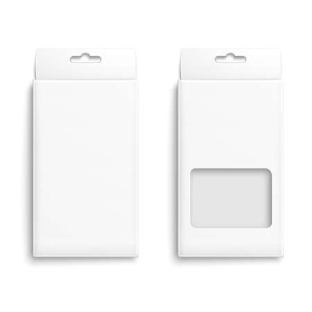 White paper packaging box with hanging hole. Product packaging collection. Ready for your design. Vector illustration.