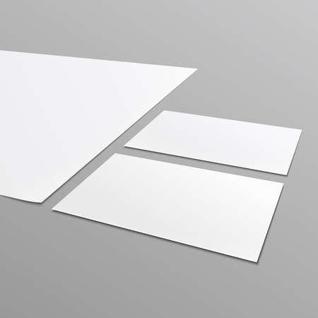 Blanco briefpapier layout ^ A4-papier, visitekaartje geïsoleerd op een grijze achtergrond. Vector illustratie. Stock Illustratie
