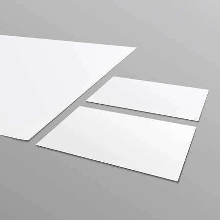a4: Blank stationery layout^ A4 paper, business card isolated on gray background. Vector illustration.