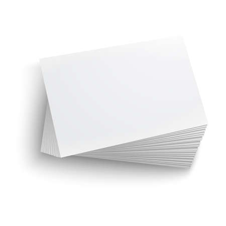 Twisted stack of blank business card on white background with soft shadows. Vector illustration.