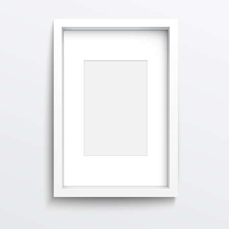 rectangle frame: White vertical frame on gray wall with realistic shadows. Vector illustration.