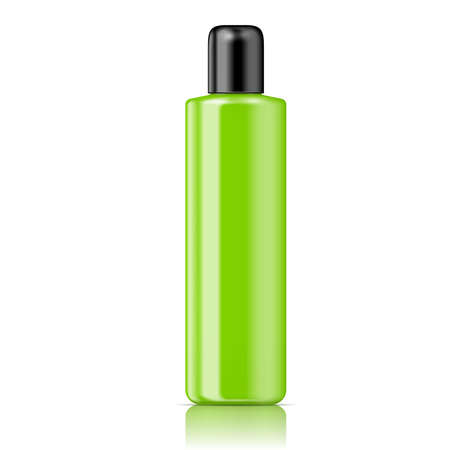 black  cap: Green tubular bottle (cylinder round style) with smooth black cap for cosmetic, perfume, lotion, shampoo, gel. Vector illustration.