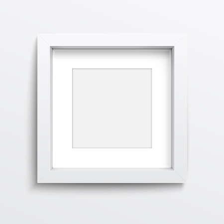 objetos cuadrados: Marco cuadrado blanco en la pared gris con sombras realistas. Ilustración del vector.