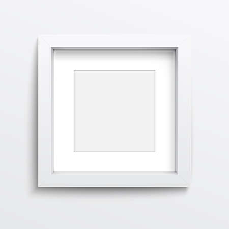 rectangle frame: White square frame on gray wall with realistic shadows. Vector illustration.