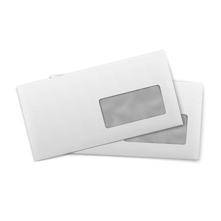 White stationery: blank opened envelopes E65 size with window, on white background. Vector illustration. Vettoriali
