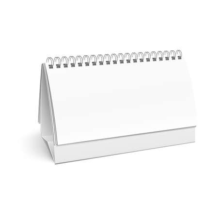 placecard: Blank paper desk spiral calendar with soft shadows. Vector illustration.