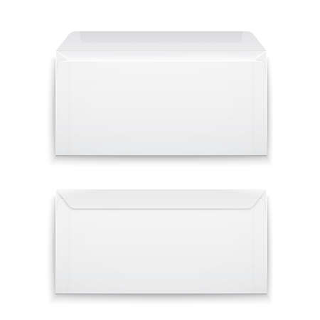 Two blank envelopes - opened an closed,  with soft shadows, isolated on white background. Vector illustration.  Ilustracja