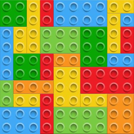 Plastic construction  blocks seamless background. Vector illustration.  Illustration