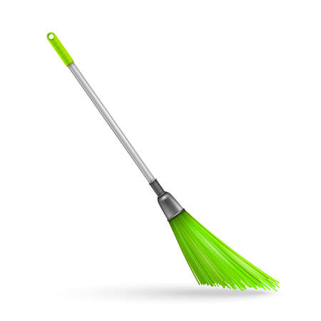silver grass: Plastic garden broom. Vector illustration Illustration
