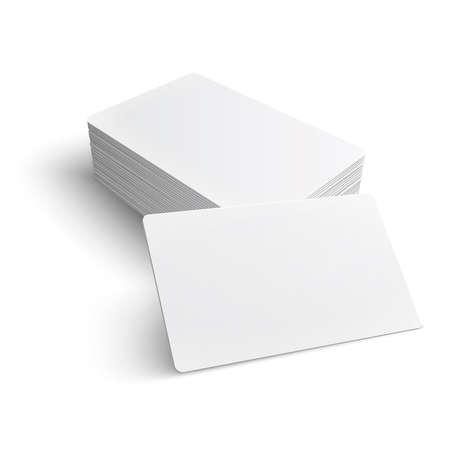 акцент: Стек пустой визитная карточка на белом фоне с мягкими тенями. Векторная иллюстрация.