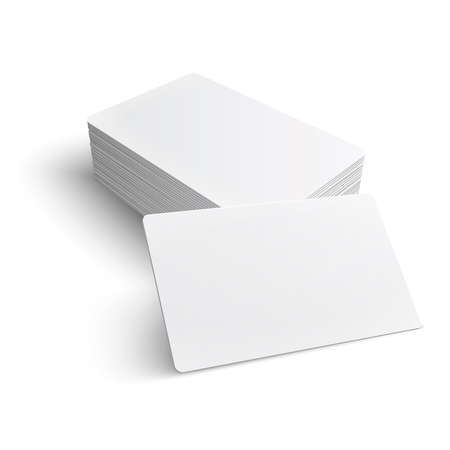 Stack of blank business card on white background with soft shadows. Vector illustration. Vettoriali