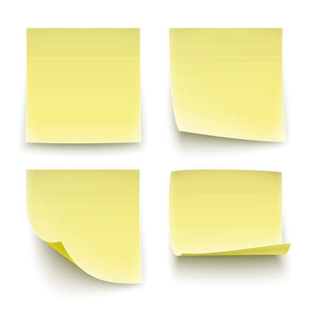 sticky notes: Four classic yellow paper stickers, twisted on different degree. Vector illustration.  Illustration
