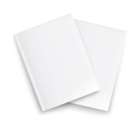 periodical: Couple of blank closed magazines template on white background with soft shadows. Ready for your design. Vector illustration.
