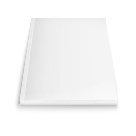 Blank magazine template on white background with soft shadows. Vector illustration.