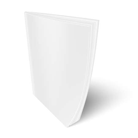 Blank vertical magazine template on white background with soft shadows. Vector illustration.
