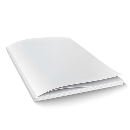 close up: Blank magazine template on white background with soft shadows. Vector illustration.
