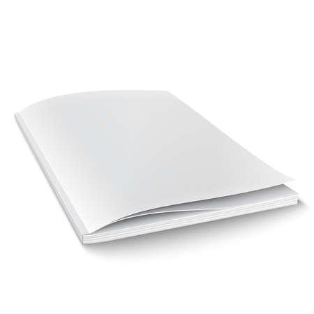 Plantilla revista en blanco sobre fondo blanco con sombras suaves. Ilustración vectorial
