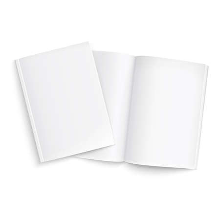 Couple of blank magazines template. on white background with soft shadows. Ready for your design. Vector illustration.  Çizim