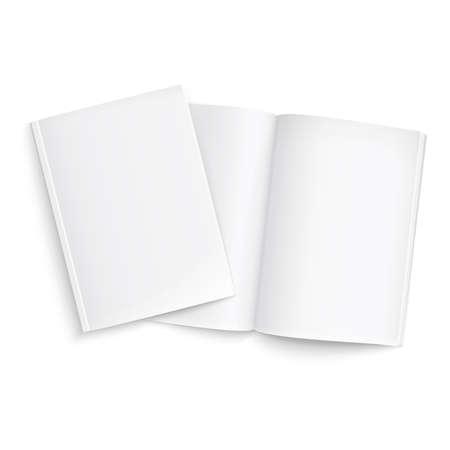 Pareja de plantilla en blanco revistas. sobre fondo blanco con sombras suaves. Listo para su diseño. Ilustración del vector. Foto de archivo - 25400074