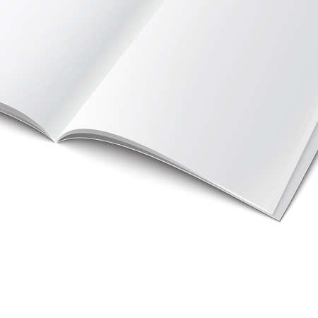 Closee-up of blank opened magazine cover template on white background with soft shadows. Vector illustration.