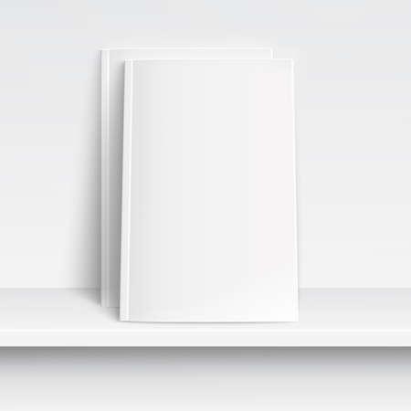 peri�dico: Duas revistas brancos em branco na prateleira branca com sombras suaves e destaques. Ilustra