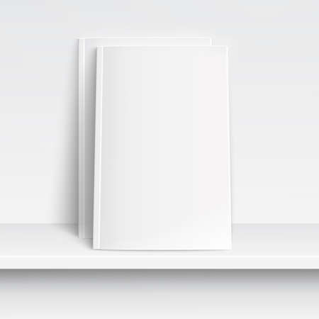 Two blank white magazines on white shelf with soft shadows and highlights. Vector illustration.  Vettoriali