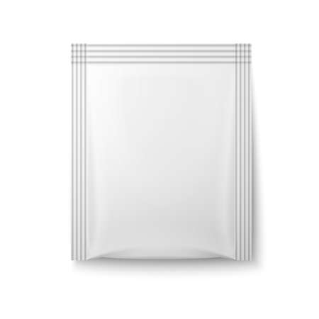 White paper sachet bag for coffee, tea, sugar, salt, pepper on white background. Ready for your design. Packaging collection. Stock Illustratie