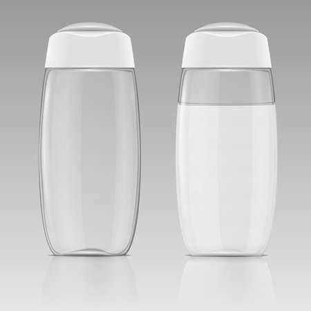 Schone plastic fles sjabloon voor shampoo, douchegel, lotion, bodymilk, badschuim. Klaar voor uw ontwerp. Vector illustratie.