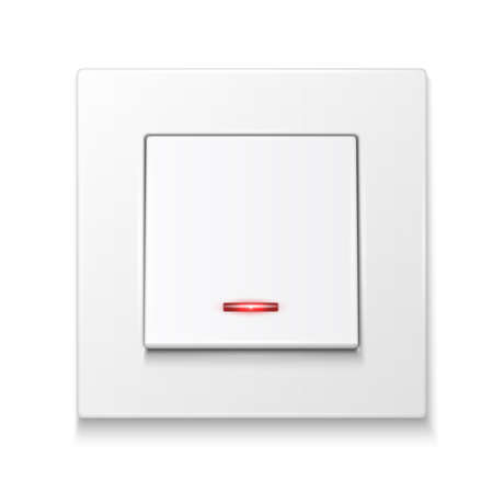 White wall switch with illumination. Vector illustration.  Vector