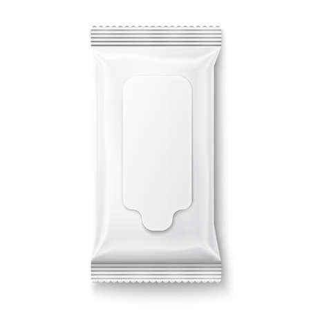White wet wipes package with flap isolated on white background. Ready for your design. Packaging collection. Vettoriali