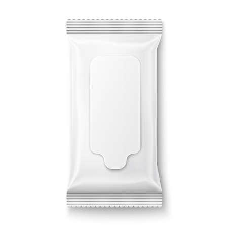 White vochtige doekjes pakket met klep op een witte achtergrond. Klaar voor uw ontwerp. Inzameling van verpakkingen.