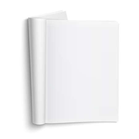 부드러운 그림자와 흰색 배경에 빈 오픈 잡지 템플릿. 벡터 일러스트 레이 션.