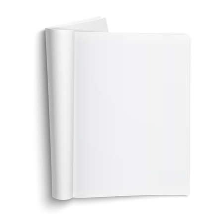 Blank open magazine template on white background with soft shadows. Vector illustration.  Stock Illustratie