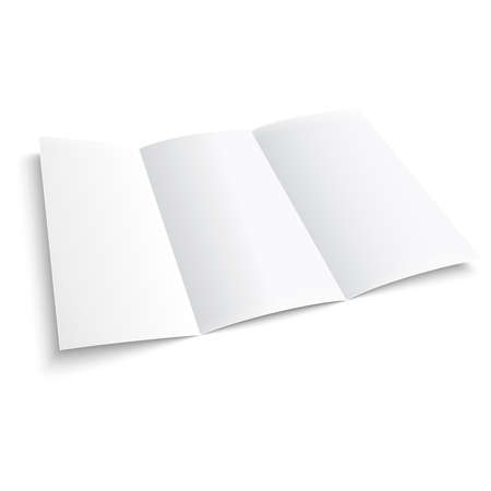 Blank trifold paper brochure. on white background with soft shadows. Z-folded. Vector illustration.
