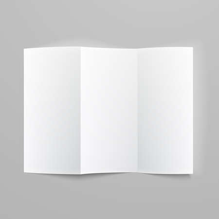 White stationery: blank trifold paper z-folded brochure on gray background with soft shadows and highlights. Vector illustration.