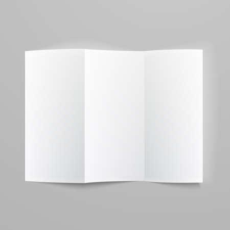 흰색 편지지 : 부드러운 그림자와 하이라이트 회색 배경에 빈 접는 종이 Z 접힌 소책자. 벡터 일러스트 레이 션.