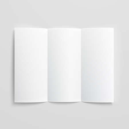 White stationery: blank trifold paper brochure on gray background with soft shadows and highlights. Vector illustration. EPS10. Vettoriali