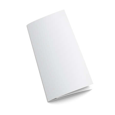 assign: Blank trifold paper brochure. on white background with soft shadows. Z-folded. Vector illustration.