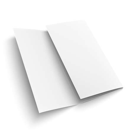 Blank trifold paper brochure. on white background with soft shadows. Z-folded. Vector illustration. EPS10. Иллюстрация