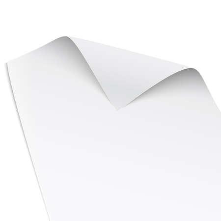 ツイスト角、白い背景に、穏やかな影に分離された紙。ベクトルの図。  イラスト・ベクター素材