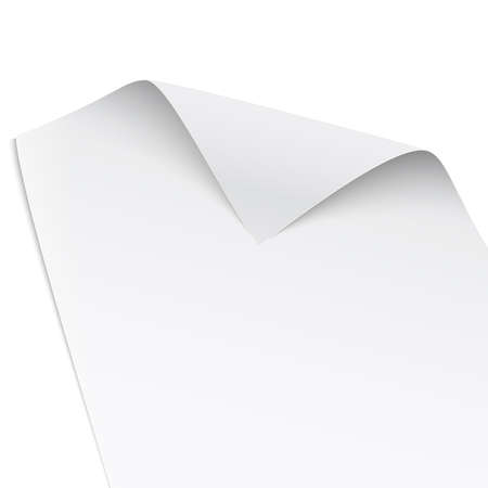 Paper with twisted corner, isolated on white background, gentle shadows. Vector illustration.  Illustration