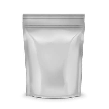 plastic: Blanco folie of plastic zakje met klep en afdichting voor koffie, cacao of snoep, verpakking collectie. Vector illustratie.